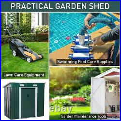 2 x 1.2 m Metal Garden Shed Lockable Roof Tool Kit Storage Patio Building Green