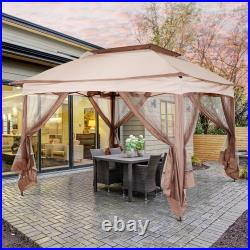 3.25 x 3.25m Garden Metal Gazebo Party Canopy Tent Sun Shelter with Net Curtain