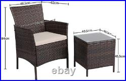 3 Pcs Garden Furniture Set Patio Bistro Sets Rattan Dinging Table and Chairs