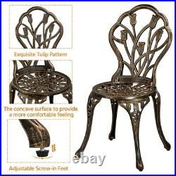 3 Piece Bistro Patio Set Garden Furniture Set Aluminum Dining Table and Chairs