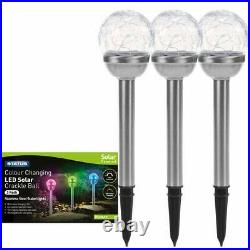 3PK Solar LED Garden Lights Post Patio Path Outdoor Lighting Colour Changing