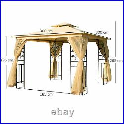 3m x 3m Patio Garden Metal Gazebo Marquee Party Tent Canopy Shelter Pavilion
