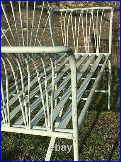 4' Arched Light Sage Green Two Seater Garden Metal Bench Seat Wrought Iron Style