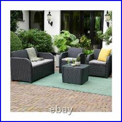 4 Piece Rattan Garden Set Furniture Chairs Sofa Coffee Table Patio Conservatory