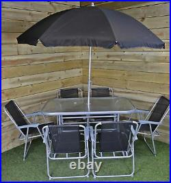 6 Person Garden Furniture Patio Set Table, 6 Chairs & Parasol