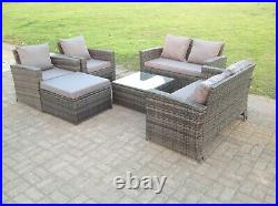 7 Seater Rattan Sofa Set Chair Coffee Table Footstool Outdoor Garden Furniture