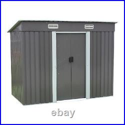 BIRCHTREE New Garden Shed Metal Pent Roof Outdoor Storage With Free Foundation