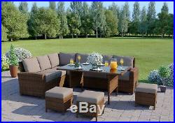 Brown 9 Seater Rattan Corner Sofa Table Set Garden Furniture Stools FREE COVER