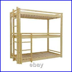 Bunkbed Triple sleeper bunk bed in Solid Pine 3 Tier bed 3ft Extra Thick Frame