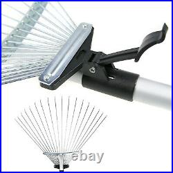 DUAL TELESCOPIC METAL GARDEN LEAF RAKE GARDENING TOOLS EXTENDABLE UP TO 134cm