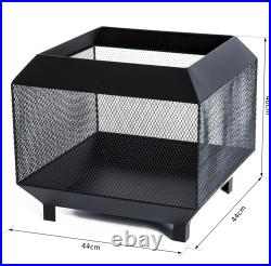 Firepit Heater Stove Garden Square Wood Buring Outdoor Patio Steel Black