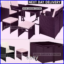 Garden Dining Furniture Rattan Cube Set Table Sofa Chair Outdoor Patio 8 Seater