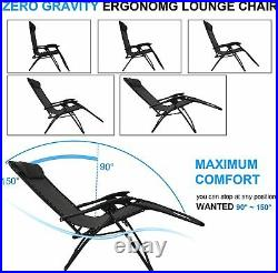 Garden Folding Table and 2 Zero Gravity Sun Lounger Chairs Set with 2 Cupholders