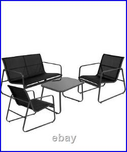 Garden Furniture Set 4 Seater Sofa Chairs Table Outdoor Lounge Set Patio Black