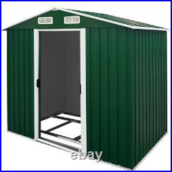 Garden Metal Tool Shed Galvanised Roofed Outdoor Storage Container 7x4ft