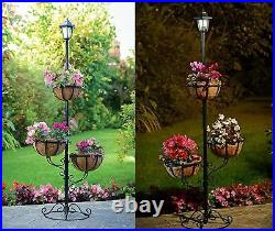 Garden Outdoor 3 Tier Solar Powered Stylish Flower Planter With White LED Light