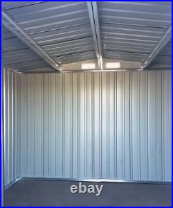 Heavy Duty Garden Storage Shed w Metal Base Sloped Roof 8x6 ft Anthracite Grey