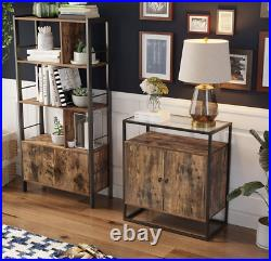 Industrial Side Cabinet Vintage Glass Sideboard Rustic Metal Hall Console Table