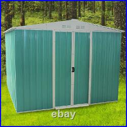 Metal Garden Shed 10 X 8 Large Outdoor Storage Unit Apex Roof with Sliding Door