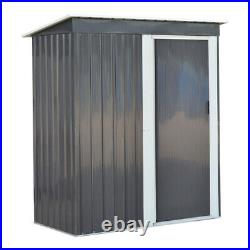 Metal Garden Shed Outdoor Tool Storage Organizer Small House 5 x 3ft Deep Grey
