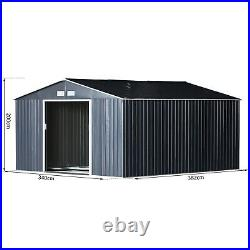 Outsunny 12.5FT X11FT Garden Outdoor Storage Shed with2 Door Galvanised Metal Grey