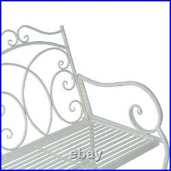 Outsunny 2 Seater Metal Garden Bench Outdoor Rocking Chair Patio White Love Seat