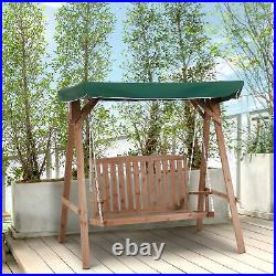 Outsunny 2 Seater Wooden Garden Swing Chair Outdoor Seat Loveseat Furniture