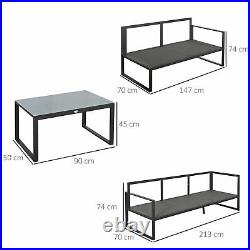 Outsunny 3 PCS Garden Furniture Conversation Set with Loveseat 3 Seater Sofa Table
