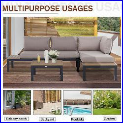 Outsunny 3 PCs Garden Outdoor Sectional Corner Sofa Lounge and Coffee Table Set