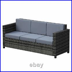 Outsunny 3 Seater Rattan Sofa All-Weather Wicker Weave Chair withCushion Grey