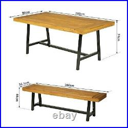Outsunny 3PC Garden Wood Dining Set Outdoor Picnic Table Bench Chair Camping BBQ
