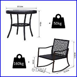 Outsunny 3PC Rattan Bistro Set Garden Wicker Rocking Chair Coffee Table Cushions