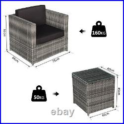 Outsunny 3PC Rattan Bistro Set Sofa Table Chair Garden Furniture Conservatory