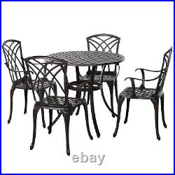 Outsunny 5 PCs Cast Aluminium Table 4 Chairs Outdoor Garden Dining Furniture Set
