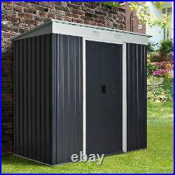 Outsunny 7 x 6ft Sloped Roof Garden Storage Shed with Sliding Door & Window