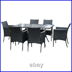 Outsunny 7pc Rattan Garden Furniture Dining Set Wicker Patio Conservatory Seater