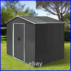 Outsunny 8 x 6ft Garden Roofed Metal Storage Shed with Ventilation & Doors, Grey
