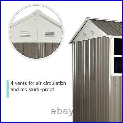 Outsunny 8x6 ft Corrugated Metal Garden Storage Shed with 2 Doors Sloped Roof Grey