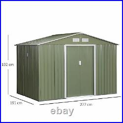 Outsunny 9X6FT Outdoor Storage Garden Shed with2 Door Galvanised Metal Light Green