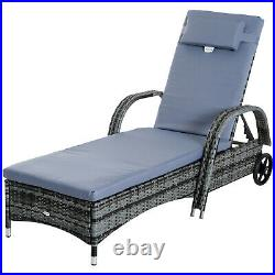 Outsunny Garden Rattan Sun Lounger Set Outdoor Day Bed Side Table Pool Recliner
