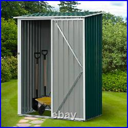Outsunny Steel Garden Stool Storage Shed Sloped Roof Green 143x89x186cm