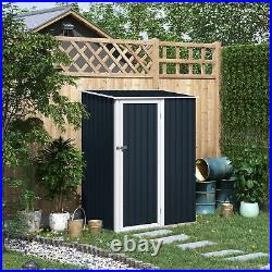 Outsunny Steel Garden Stool Storage Shed Sloped Roof Grey 143x89x186cm