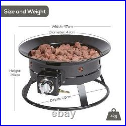 Portable Gas Fire Pit Bowl with Lava Rocks Outdoor Garden Patio Camping Heater