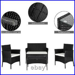 Rattan Garden 4 Pcs Furniture Set Conservatory Patio Outdoor Table Chairs Lounge