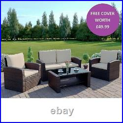 Rattan Garden Furniture Conservatory Sofa Set 4 Seat Armchair Table FREE COVER