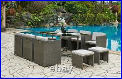Rattan Garden Furniture Outdoor 11 Piece Cube Set Conservatory Patio Dining