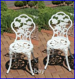 Vintage Garden Chairs French Style Furniture Metal Bistro Patio Cast Iron Set 2